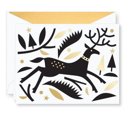 Crane Crane Cut Paper Reindeer Holiday Greeting Cards