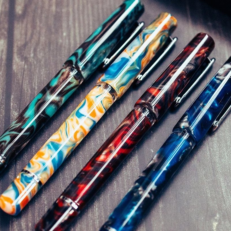 Fine Nib Narwhal Schuylkill Fountain Pen in Rockfish Red Goldspot Exclusive