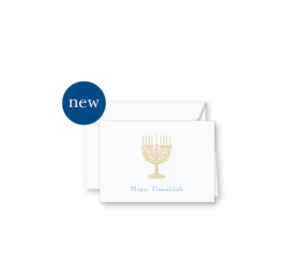 Crane Crane Engraved Happy Hanukkah Holiday Enclosure Cards