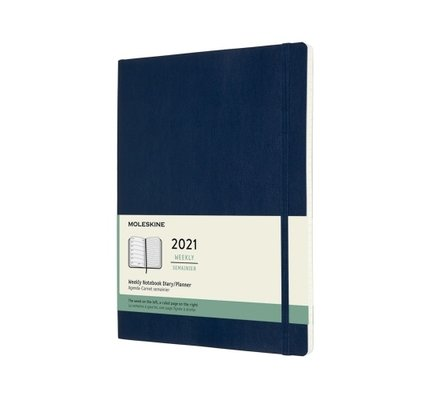 Moleskine Moleskine 2021 Weekly Planner 12-Month Extra Large Sapphire Blue Soft Cover (7.5x9.75)