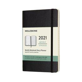 Moleskine Moleskine 2021 Weekly Planner 12-Month Pocket Black Soft Cover (3.5x5.5)