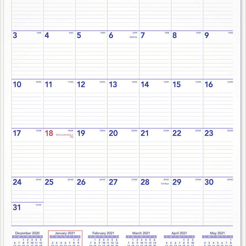 """At-A-Glance 2021 Monthly Wall Calendar 15.5"""" x 2.1"""" x . 3 ..."""