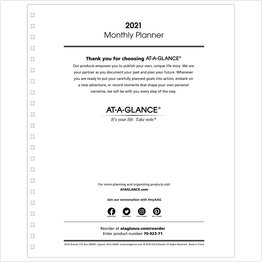 At-A-Glance 2021 Monthly Planer Refill for 70-236 or 70-296
