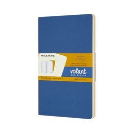 Moleskine Moleskine Volant Journals Large Softcover Forget Met Not Blue/Amber Yellow Ruled (Set of 2)