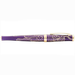 Cross Cross Sauvage Engraved Plum Lacquer Year of the Ox Fountain Pen with 18k solid gold nib