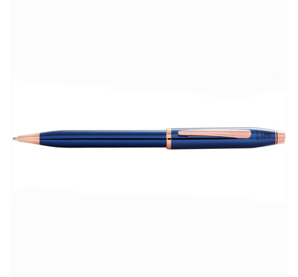 Cross Cross Century II Translucent Blue Lacquer Ballpoint Pen with Rose Gold Appointments