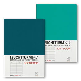 Leuchtturm1917 Leuchtturm1917 Jottbook Double A5 Medium Flexcover Emerald & Pacific Green Ruled