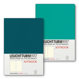 Leuchtturm1917 Leuchtturm1917 Jottbook Double A5 Medium Flexcover Emerald & Pacific Green Dotted
