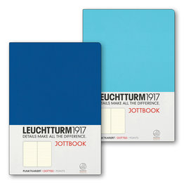 Leuchtturm1917 Leuchtturm1917 Jottbook Double A5 Medium Flexcover Ice Blue & Royal Blue Dotted
