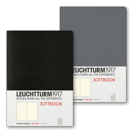 Leuchtturm1917 Leuchtturm1917 Jottbook Double A5 Medium Flexcover Anthracite & Black Dotted