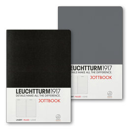 Leuchtturm1917 Leuchtturm1917 Jottbook Double A5 Medium Flexcover Anthracite & Black Ruled