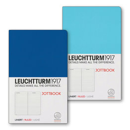 Leuchtturm1917 Leuchtturm1917 Jottbook Double A6 Pocket Flexcover Ice Blue & Royal Blue Ruled