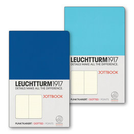 Leuchtturm1917 Leuchtturm1917 Jottbook Double A6 Pocket Flexcover Ice Blue & Royal Blue Dotted
