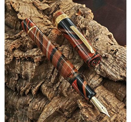 Stipula Limited Edition Florentia Ebonite Montezuma Fountain Pen with 14K Sti-Flex Nib