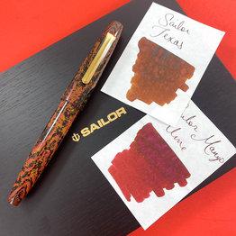 Sailor Sailor Limited Edition Kouen Red Flame Naginata-Togi Ebonite Bi-Color Fountain Pen