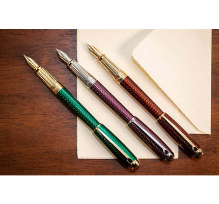 S. T. Dupont S.T. Dupont Line-D Firehead Guilloche Emerald Fountain Pen