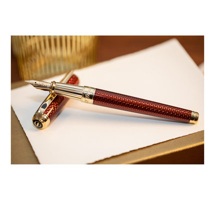 S. T. Dupont S.T. Dupont Line-D Firehead Guilloche Amber Fountain Pen