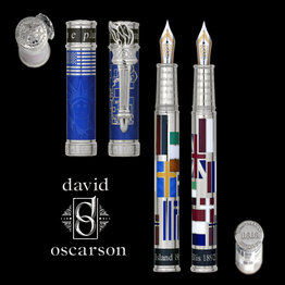 David Oscarson David Oscarson Limited Edition Ellis Island Blue with Silver Trim Fountain Pen