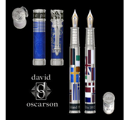 David Oscarson David Oscarson Limited Edition Ellis Island Blue with Silver Trim Rollerball