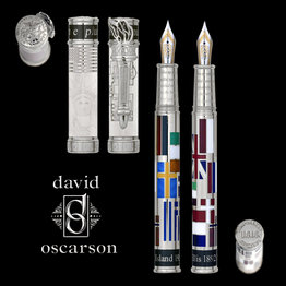 David Oscarson David Oscarson Limited Edition Ellis Island White with Silver Trim Fountain Pen