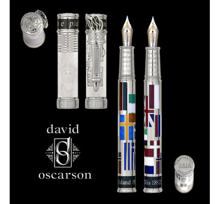 David Oscarson David Oscarson Limited Edition Ellis Island White with Silver Trim Rollerball