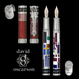 David Oscarson David Oscarson Limited Edition Ellis Island Ruby Red with Silver Trim Rollerball