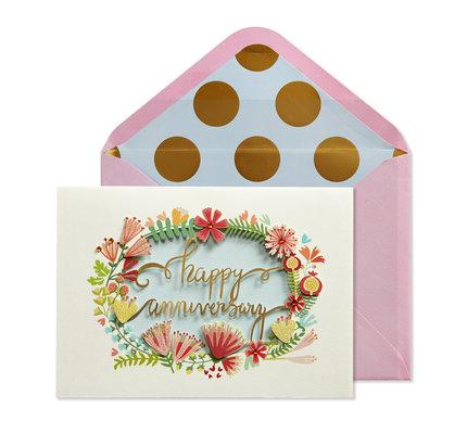 NIQUEA.D NIQUEA.D Pink Floral Wreath Anniversary Card