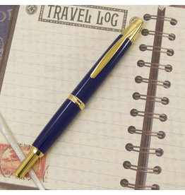 Pilot Pre-Owned Pilot Vanishing Point Blue with Gold Trim Fountain Pen Medium
