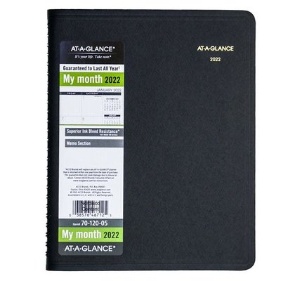 "At-A-Glance 70-120 2022 Monthly Planner Black Medium (7"" x 8.75"")"
