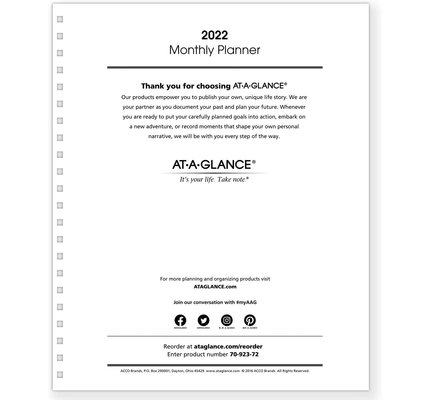At-A-Glance Monthly Planner Refill for 70-236 or 70-296 (9x11)