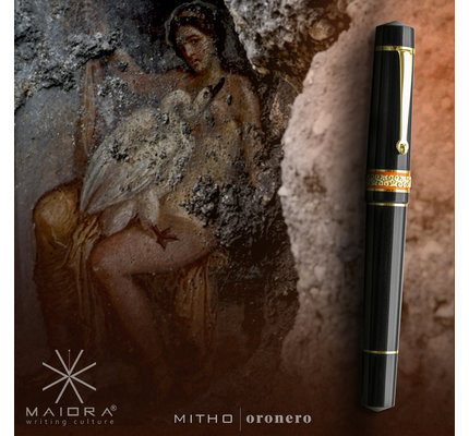 Maiora Maiora Mytho K Onero Mirror Black with Palladium Trim Fountain Pen - 14K Nib