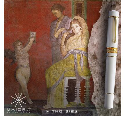 Maiora Maiora Mytho Dama Mirror White with with Gold Plated Trim Fountain Pen - 14K Nib