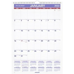 """At-A-Glance PM2-28 2022 Monthly Wall Calendar Blue and Red ( 12"""" x 17"""")"""