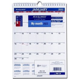 """At-A-Glance PM1-28 2022 Monthly Wall Calendar Blue and Red ( 8"""" x 11"""")"""