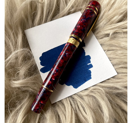 Nettuno 1911 Neos Prometeo Red and Blue with Gold Plated Trim Fountain Pen