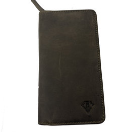 Dee Charles Dee Charles 2/3 Pen Zipper Case - Olive with Olive Stitching