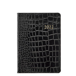 Graphic Image Graphic Image 2022 Embossed Crocodile Leather WJ7 5 x 7 Weekly Notebook - Black