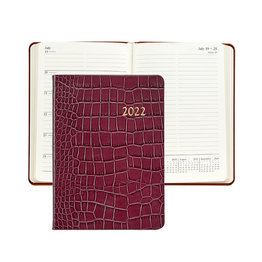 Graphic Image Graphic Image 2022 Embossed Crocodile Leather WJ7 5 x 7 Weekly Notebook - Ruby