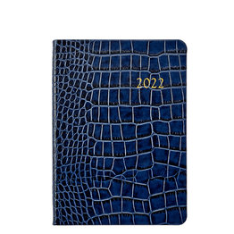 Graphic Image Graphic Image 2022 Embossed Crocodile Leather WJ7 5 x 7 Weekly Notebook - Sapphire