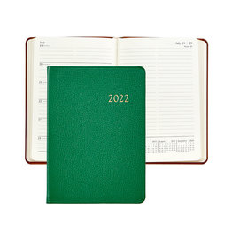 Graphic Image Graphic Image 2022 Goatskin Leather WJ7 5 x 7 Weekly Weekly Journal - Kelly Green