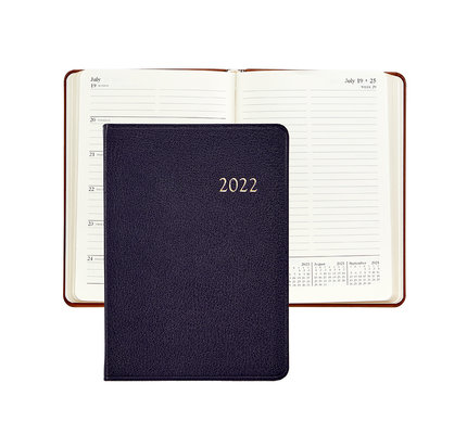 Graphic Image Graphic Image 2022 Goatskin Leather WJ7 5 x 7 Weekly Weekly Journal - Purple
