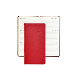 """Graphic Image Graphic Image 2022 Traditional Leather PJ6 6"""" Personal Pocket Weekly Journal - Red"""