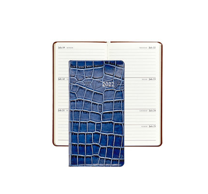"""Graphic Image Graphic Image 2022 Embossed Crocodile Leather PJ6 6"""" Personal Weekly Journal - Sapphire"""