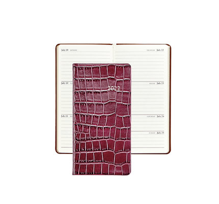 """Graphic Image Graphic Image 2022 Embossed Crocodile Leather PJ6 6"""" Personal Weekly Journal - Ruby"""