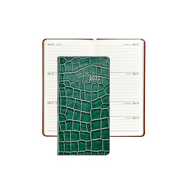 """Graphic Image Graphic Image 2022 Embossed Crocodile Leather PJ6 6"""" Personal Weekly Journal - Emerald"""