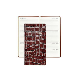 """Graphic Image Graphic Image 2022 Embossed Crocodile Leather PJ6 6"""" Personal Weekly Journal - Brown"""