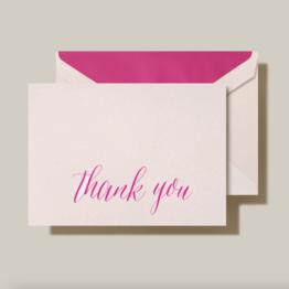 Crane Crane Light Pink Calligraphic Pink Thank You Note