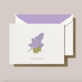 Crane Crane Pearl White Engraved Lilac Thank You Note