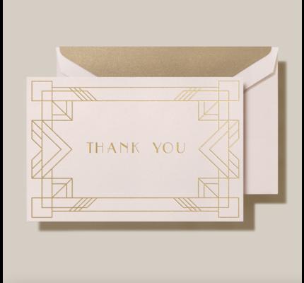 Crane Crane Light Pink Rose Gold Foil Deco Bordered Thank You Card
