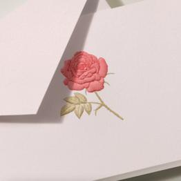 Crane Crane Light Pink Engraved Rose Note